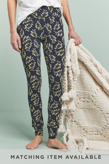 Navy Ditsy Floral Cotton Blend Leggings