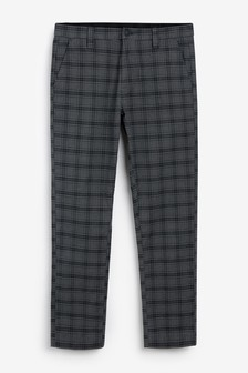 Grey Slim Fit Check Trousers