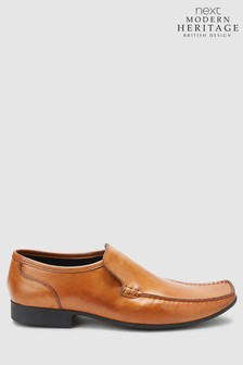 Tan Leather Slip-On Shoes