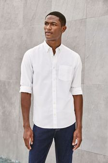 White Regular Fit Long Sleeve Oxford Shirt