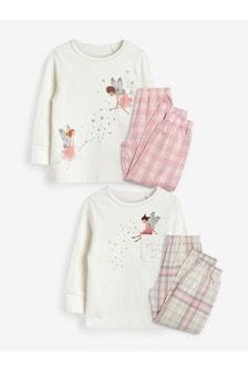 Ecru/Pink Fairy 2 Pack Woven Bottom Pyjamas (9mths-8yrs)