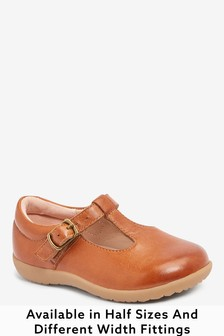 Tan Leather Wide Fit (G) Little Luxe™ T-Bar Shoes (Younger)