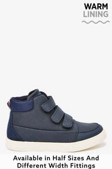 Navy Warm Lined Strap Touch Fastening Boots (Older)