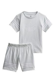adidas Originals Infant Grey Outline T-Shirt And Shorts Set