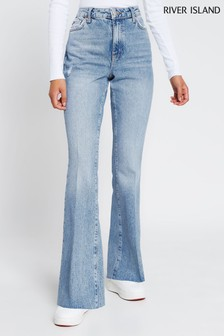 River Island Denim Light Flare High Rise Cut Hem Bex Jeans