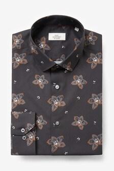 Black Slim Fit Single Cuff Floral Shirt