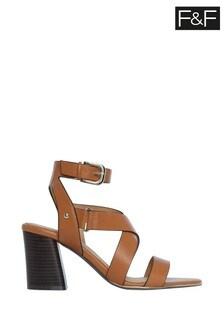 F&F Tan Strappy Heel Sandals