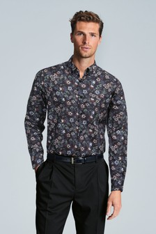 Navy Floral Slim Fit Single Cuff With Trim Detail Shirt
