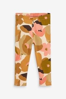 Orange Floral Organic Cotton Leggings (3mths-7yrs)