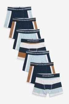 Blue/Tan Colour Block 7 Pack Trunks (2-16yrs)