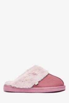 Pink Suede Mule Slippers