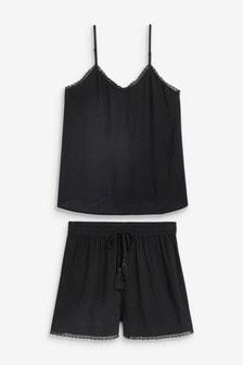 Black Woven Short Set With Scrunchie