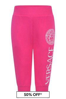 Baby Girls Fuchsia Cotton Logo Joggers