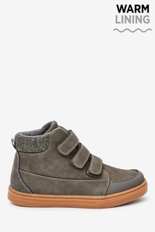 Grey Warm Lined Strap Touch Fastening Boots (Older)