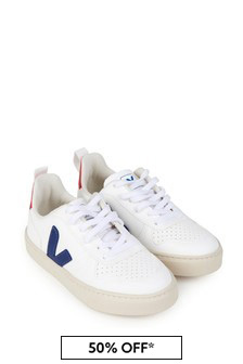 Veja Kids White & Blue Leather Lace-Up Trainers