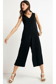 Black Sleeveless Culotte Jumpsuit