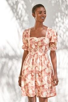 Tan Floral Mini Tea Dress