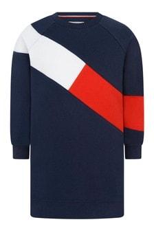 Girls Navy Cotton Flag Sweater Dress
