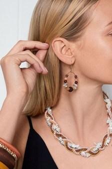 Multi Beaded Plait Necklace