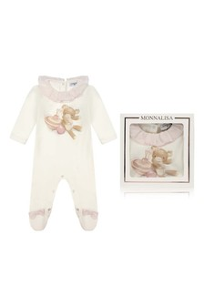 Girls Ivory Cotton Teddy Babygrow