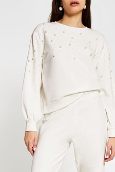 River Island Cream Pearl Sleeve Sweater