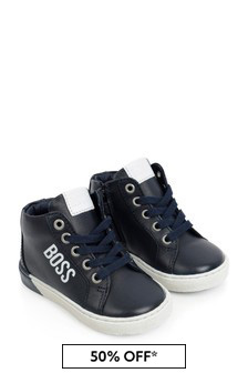 Boys Navy Leather High Top Trainers