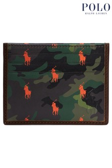 Polo Ralph Lauren Brown Camo Print Leather Card Case