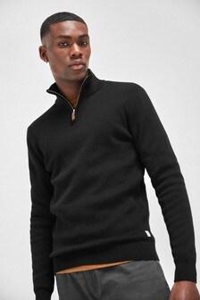 Black Cotton Premium Zip Neck Jumper