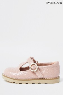River Island Pink Light Monogram Pearl Clumpy Shoes