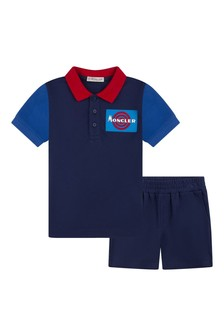 Boys Blue Cotton Pique Shorts Set