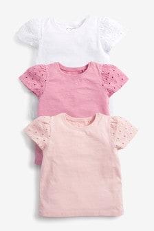 Pink 3 Pack Organic Cotton T-Shirts (3mths-7yrs)