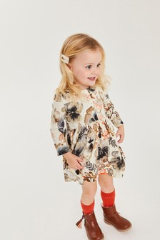Charcoal Floral Tea Dress (3mths-7yrs)