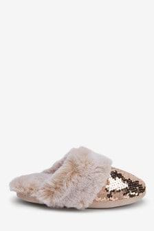 Rose Gold Sequin Faux Fur Mule Slippers (Older)