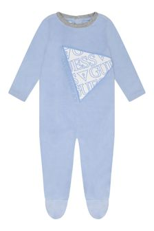 Boys Pale Blue Velour Babygrow