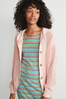 Pink Hooded Mesh Cardigan