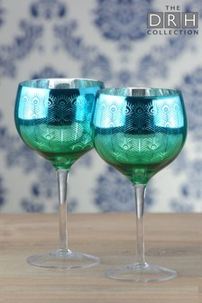Set of 2 Peacock Gin Glasses By The DRH Collection