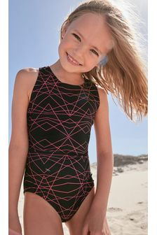 Black/Pink Sports Swimsuit (3-16yrs)