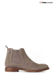 Base London® Grey Flint Suede Pull-On Chelsea Boots
