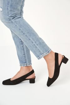Black Regular/Wide Fit Leather Slingback Block Heel Shoes