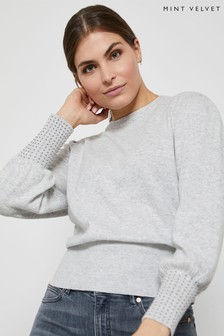 Mint Velvet Grey Stud Cuff Detail Jumper