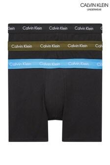 Calvin Klein Blue Cotton Stretch 3 Pack Boxer Briefs