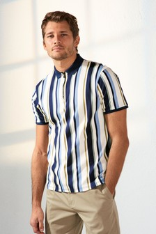 White/Blue Slim Fit Vertical Stripe Zip Neck Poloshirt