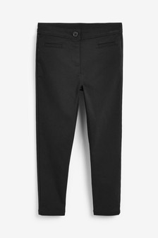 Black Longer Length Skinny Stretch Trousers (3-16yrs)