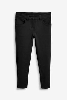 Black Longer Length Jersey Skinny Trousers (3-16yrs)