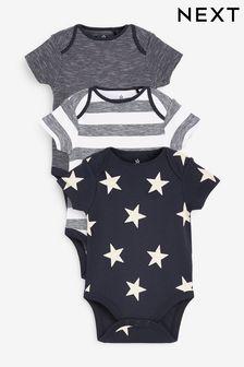Navy Star 3 Pack Short Sleeve Bodysuits (0mths-3yrs)
