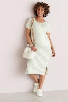 Mint Stripe Maternity Jersey T-Shirt Dress