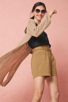 Tan Longline Linen Blend Cardigan
