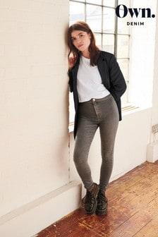 Grey Own High Waist Flat Front Leg Jeans