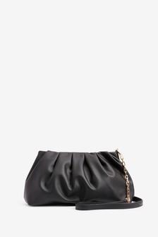 Black Slouchy Chain Detail Across-Body Bag