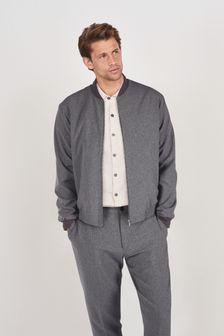 Grey Slim Fit Motion Flex Commuter Bomber Jacket